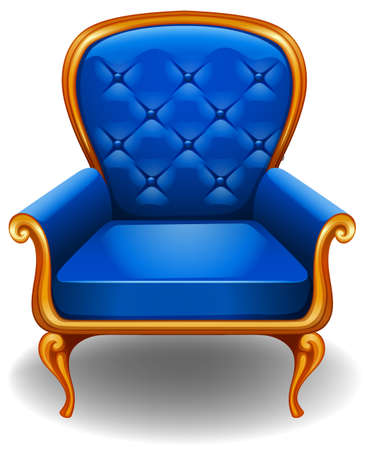 Elegant blue armchair on white background Vector