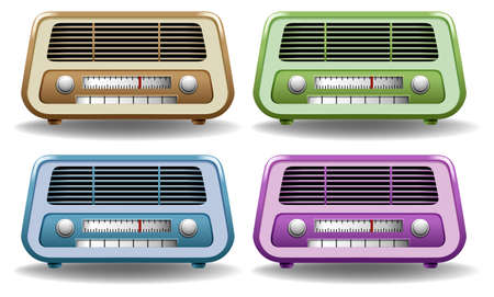 retro radio: Retro radio in four different colors Illustration