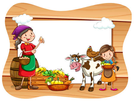 working animals: Blank banner with farmers and farm products background Illustration