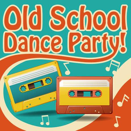 Affiche ancienne du parti de danse de l'école dans le rétro conception Vecteurs