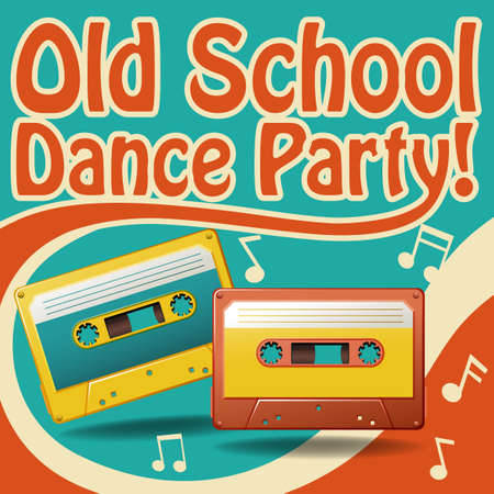 casette: Old school dance party poster in retro design