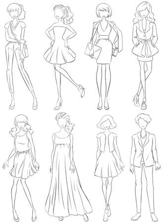 outline women: Outline sketch of women in collection of fashion clothes