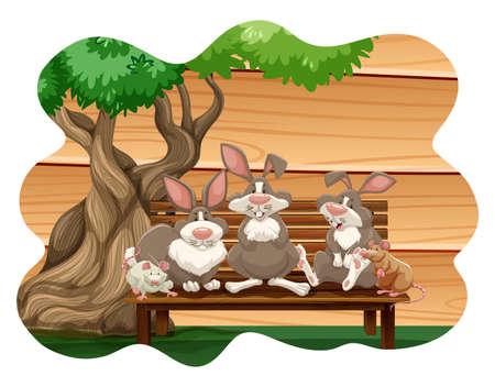 conejo: Los conejos y ratones que se sientan en un banco bajo un �rbol Vectores