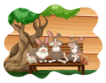 rabbit clipart: Rabbits and mice sitting on a bench under a tree Illustration