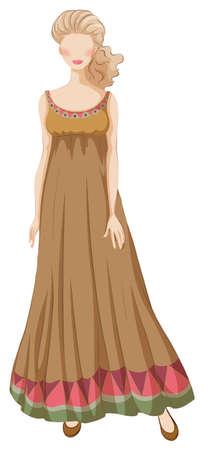 formal: Female model wearing brown dress Illustration