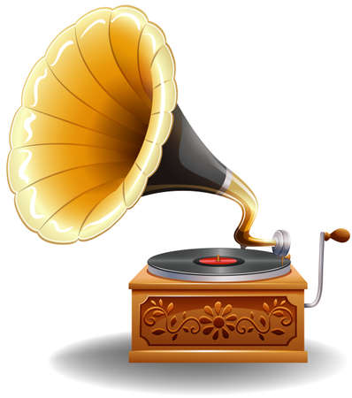 recorder: Vintage gramophone with recorder in luxury design Illustration