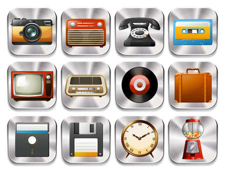 old items: Twelve retro icons with retro objects