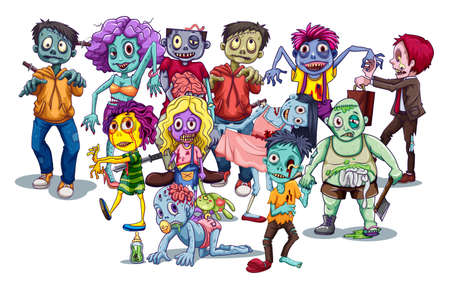 Group of zombies and monsters walking Vector