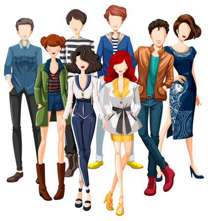 fashion design: Group of male and female models wearing fashionable clothes Illustration