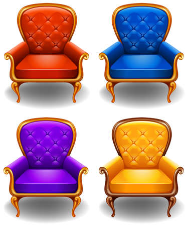 armchairs: Luxury design of armchairs in four different colors Illustration