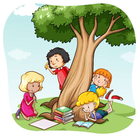 field study: Children reading and writing under the tree