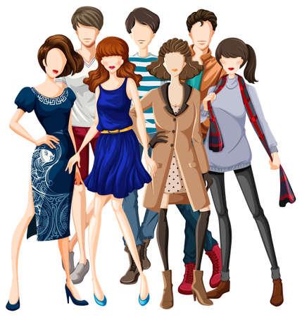 modelos hombres: Los modelos masculinos y femeninos vestidos de moda