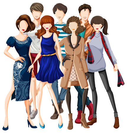male models: Male and female models wearing fashionable clothes