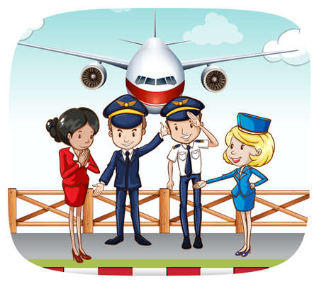 flight: Pilots and flight attendants greeting at the airport