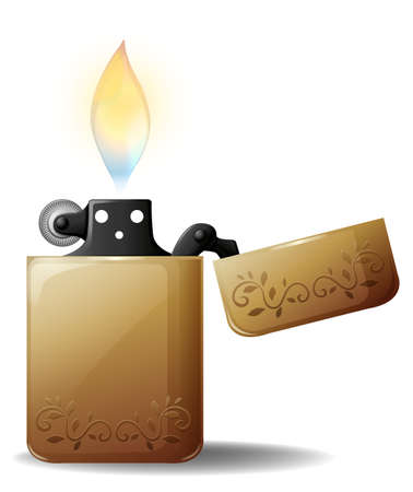 gas lighter: Lighter with the fire burning on a white background
