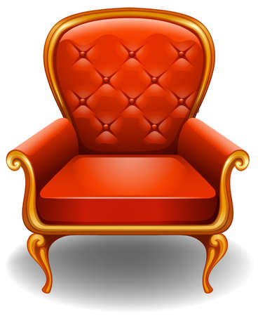 Orange armchair on a white background