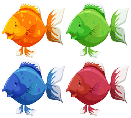 Cute fish in four different colors Vector