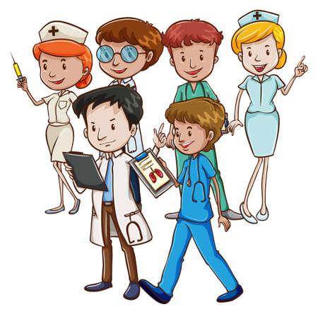 pielęgniarki: Lekarze i pielęgniarki pracujący razem
