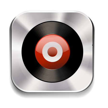 oldies: Square silver icon of music recorder