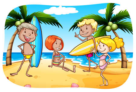 ocean cartoon: People with surfboard hanging out on the beach