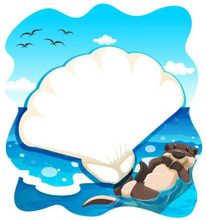 nutria caricatura: Seaotter nadar en el medio del mar Vectores
