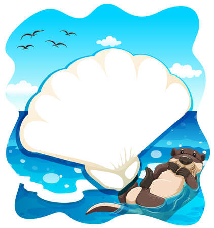 sea otter: Seaotter swimming in the middle of the sea Illustration