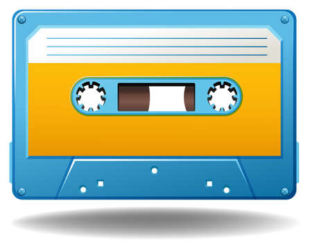 oldies: Blue tape cassette in old-fashioned design