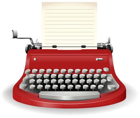 m�quina de escribir vieja: M�quina de escribir con la hoja de papel en blanco