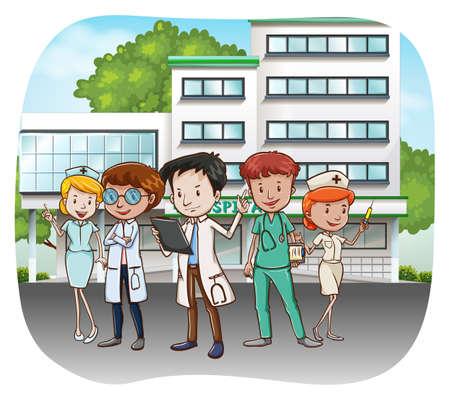 hospitales: Los médicos y enfermeras en frente del hospital