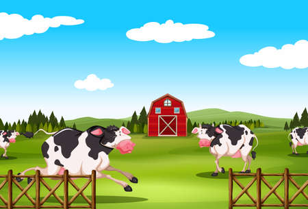 Cow running in the farmland at daytime Vector