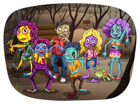 scary halloween: Group of zombies walking dead in the graveyard Illustration
