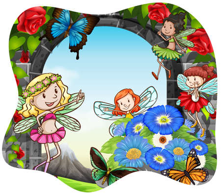 butterfly flying: Fairies and butterfly flying around the flowers