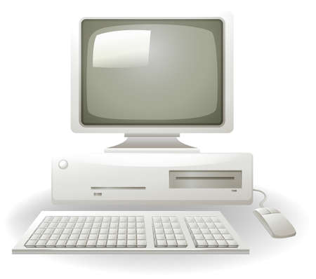 computer accessory: Old personal computer with keyboard and mouse Illustration
