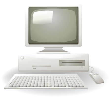 Oude personal computer met toetsenbord en muis