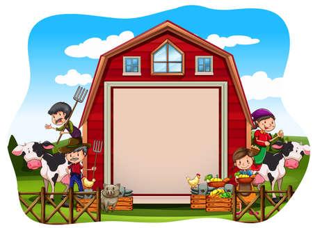 farm animal: Farmers working in the farm Illustration