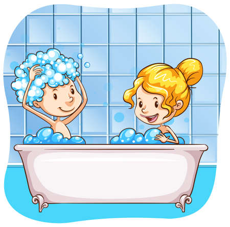 shampoo hair: Two people taking bubble bath together
