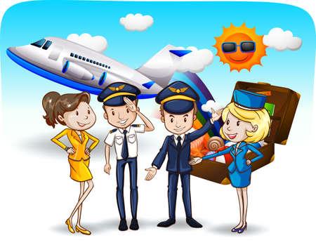 mosca caricatura: Los pilotos y asistentes de vuelo en uniforme