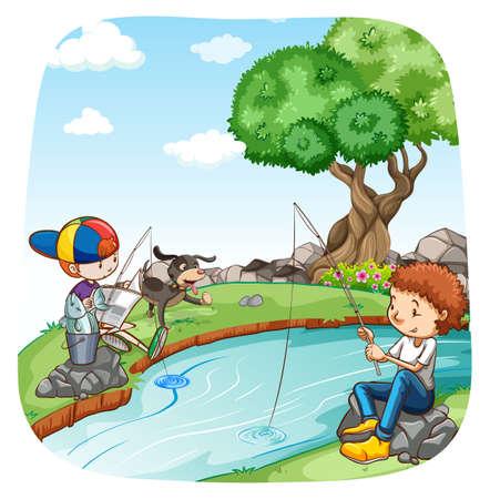 perro caricatura: Dos muchachos de pesca en el río