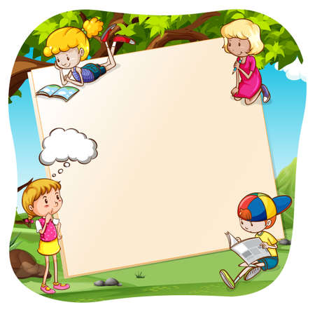 background picture: Children reading and writing in the park Illustration