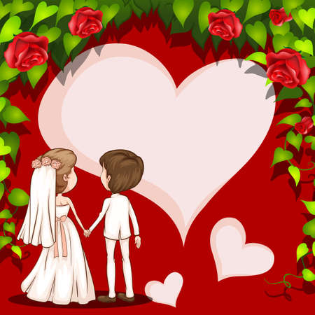 couple holding hands: Wedding couple holding hands with roses background