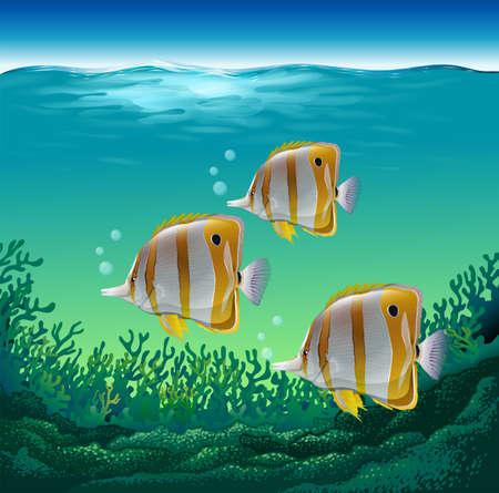 Ocean poissons nageant sous la mer Vecteurs