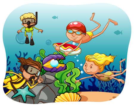 scuba diving: Mensen duiken onder de oceaan Stock Illustratie