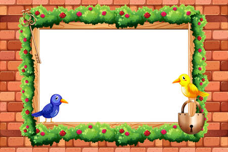 key board: Blank border with birds and flower around it