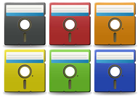 storage device: Old floppy disks in six different colors Illustration