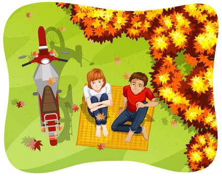 pareja adolescente: Pareja de adolescentes de relax en el parque