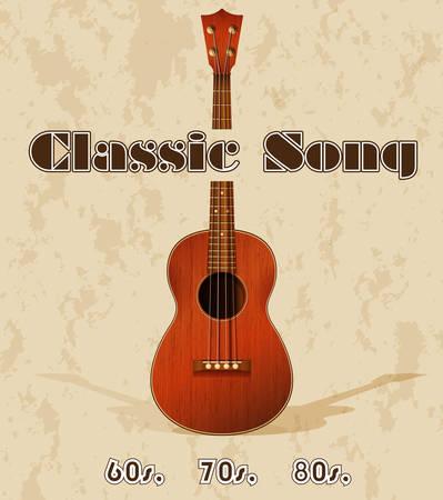 guitarra clásica: Cartel canci�n cl�sico con guitarra cl�sica