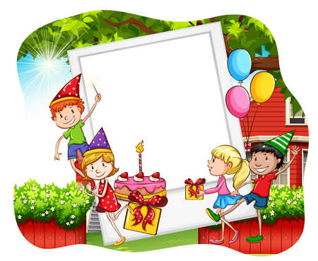 cartoon party: Children having birthday party and photo frame