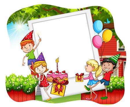 pasteles de cumplea�os: Los ni�os que tienen fiesta de cumplea�os y marco de fotos