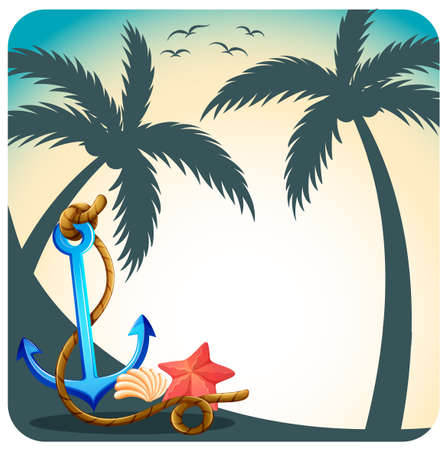 coconut trees: Anchor and starfish with coconut trees background