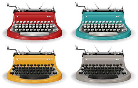 Vintage schrijfmachine in vier verschillende kleuren Vector Illustratie